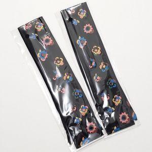 ⤵⤵2pcs Noir Black Flowers Design Satin Twillys
